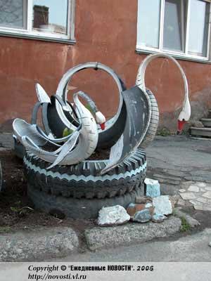 Лебеди из автомобильных шин